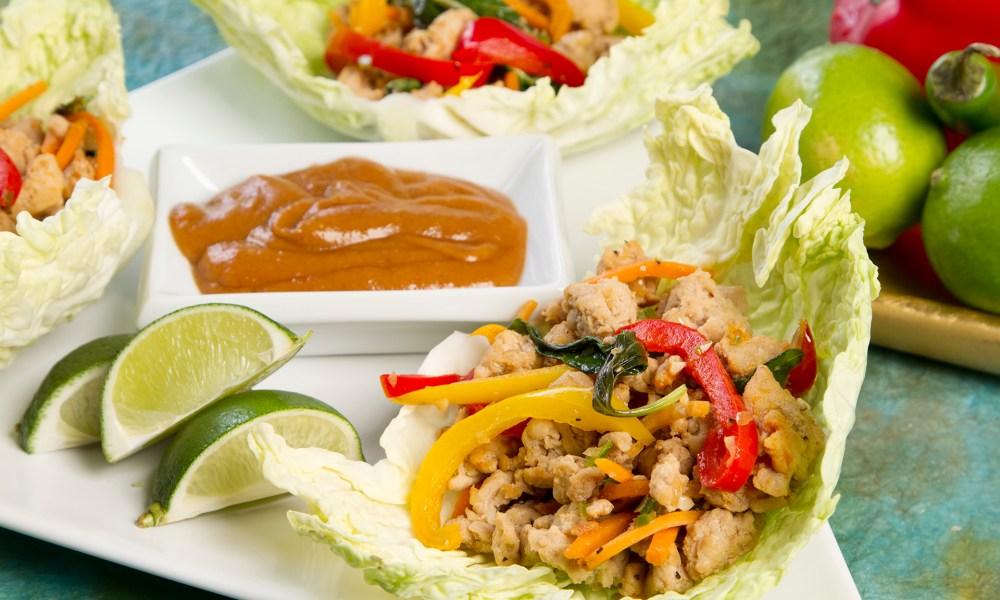 thai basil chicken wraps