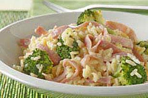 15 Minute Cheesy Rice with Ham Broccoli