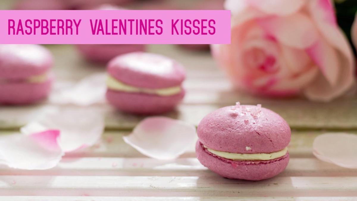 A Raspberry Valentine's Kiss Macaron