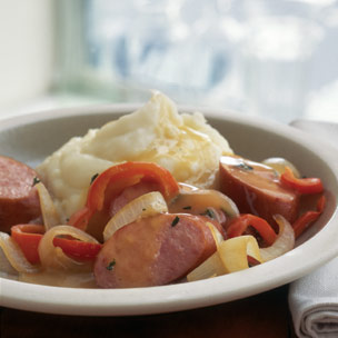 Ale Braised Sausage with Bell Peppers