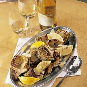 Pan Roasted Artichokes with Garlic and Lemon