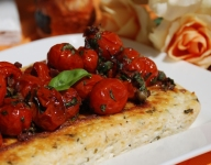 Baked Ricotta with Caramelized Cherry Tomato Sauce