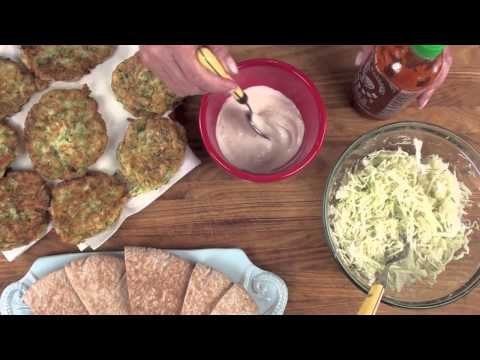 Zucchini Fritters and  Spicy Cabbage Slaw Sandwiches