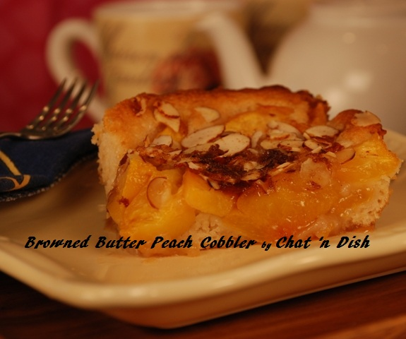 Browned Butter Upside Down Peach Cobbler