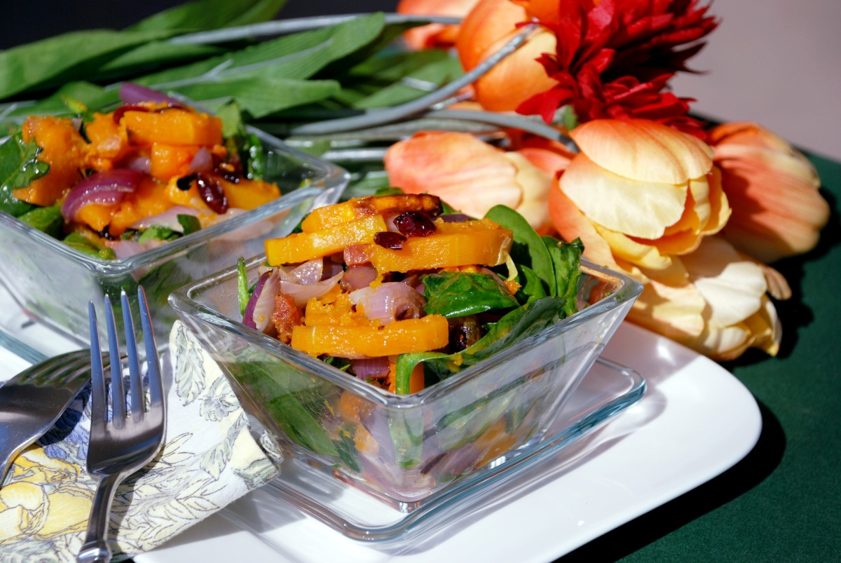 Roasted Butternut Squash & Spinach