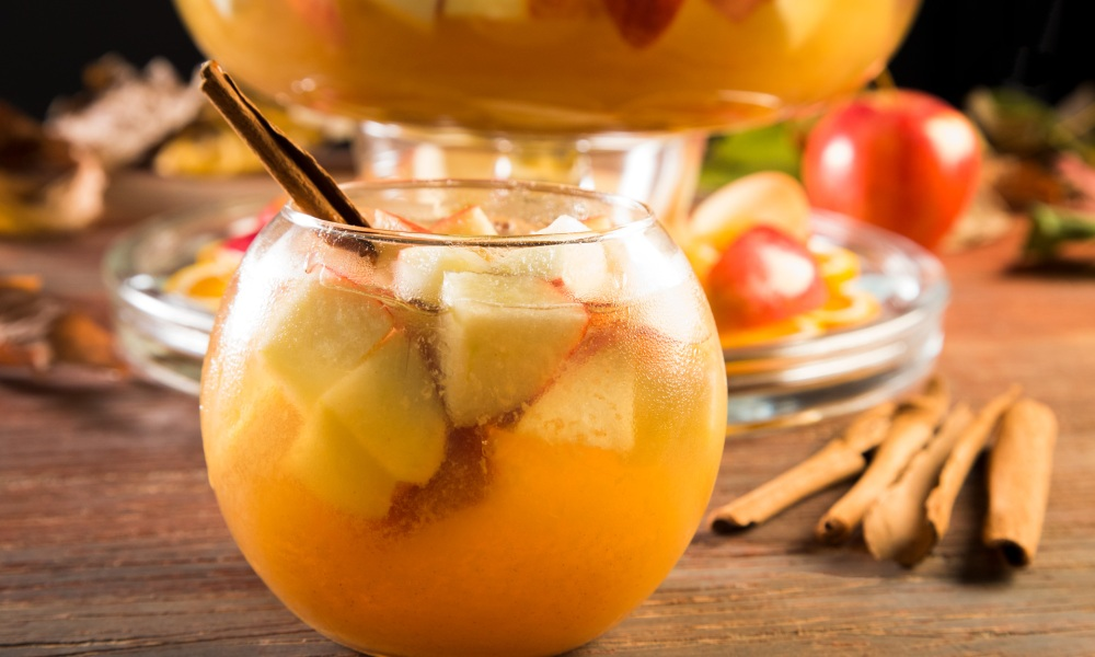 This sangria is delectable! It's perfectly sweet from the apple cider, along with the hints of caramel–thanks to the caramel vodka. It's very easy to throw together for company and perfect to serve during the hurried holiday season!