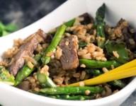 Asparagus and Teriyaki Steak Fried Rice