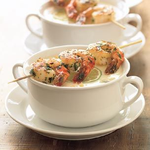 Corn Chowder with Grilled Shrimp