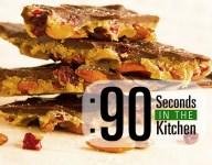90 Second Dark Chocolate Caramel Almond Candy with Sea Salt