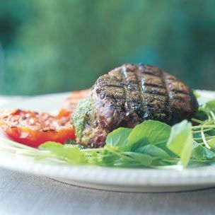 Filets Mignons with Pesto and Grilled Tomatoes