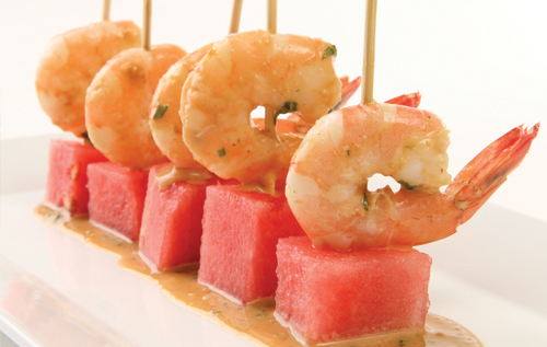 Watermelon and Shrimp Skewers