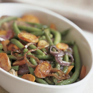 Roasted Green Beans and Carrots with Red Onion Recipe