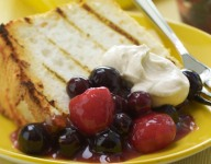 Grilled Angel Food Cake with Peppered Berries and Vanilla Cream