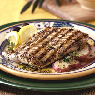 Grilled Halibut with Warm Potato Salad
