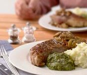 Grilled Steaks with Bacon, Mushroom and Bourbon Sauce