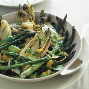 Grilled Asparagus and Endive with Favas Orange and Mint