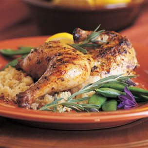 Grilled Cornish Hens with Lavender Honey Grilling Sauce