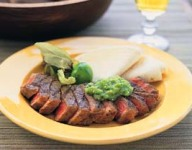 Grilled Steak with Avocado Tomatillo Salsa and Tortillas Recipe