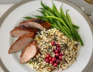 Cranberry Glazed Pork Tenderloin with Long Grain and Wild Rice