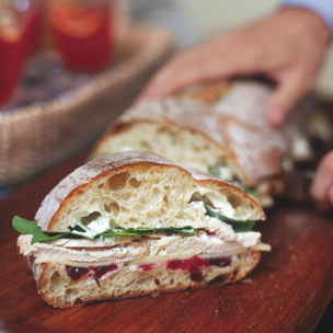 Italian Loaf with Turkey White Cheddar and Cranberry Sauce Sandwich Recipe