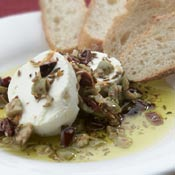 Marinated Green and Black Olive and Goat Cheese Spread