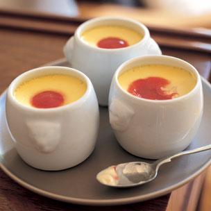 Meyer Lemon Pots de Creme with Raspberry Sauce