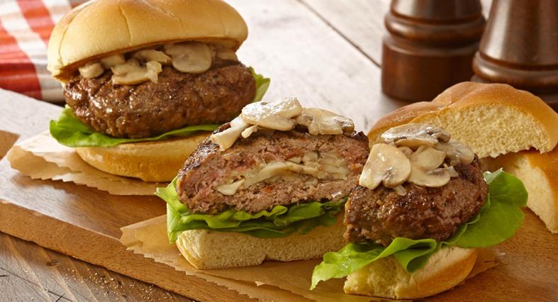 Mushroom and Swiss Stuffed Burgers