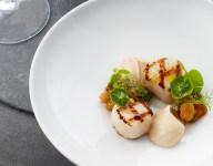 Grilled Scallops, Golden Raisin Relish and Cauliflower