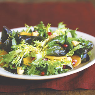 Red Oakleaf and Frisee Salad with Persimmons