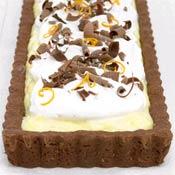 Orange Custard Tart with Chocolate Shortbread Crust Recipe