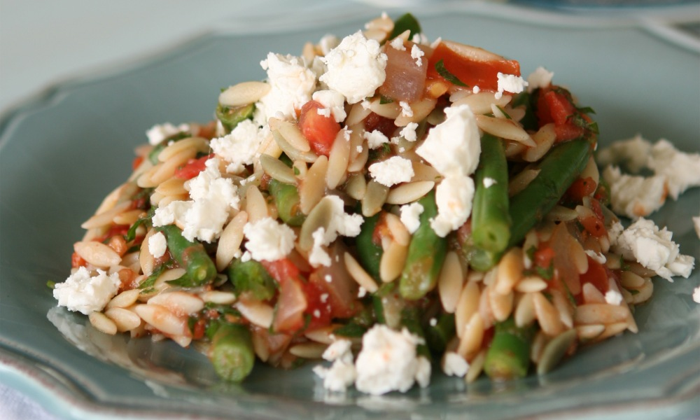 Orzo with Feta, Green Beans and Tomatoes