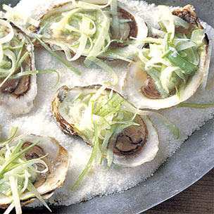 Oysters on the Half Shell with Apple Horseradish Slaw