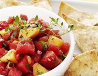 Peach and Watermelon Salsa with Cinnamon Tortilla Chips