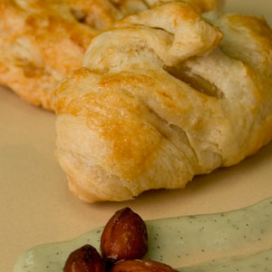 Pear Almond Turnover with Vanilla Brie Sauce