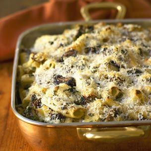 Rigatoni with Mushrooms, Sausage and Spinach