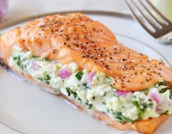 Salmon with Spinach Feta Stuffing