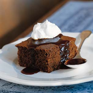 Ginger Cake with Warm Caramel Sauce