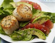 Seared Scallops with Red Grapefruit Avocado Salad Recipe