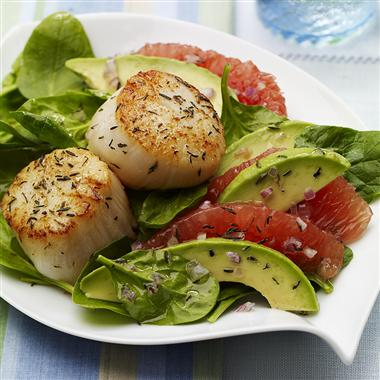 Seared Scallops with Red Grapefruit Avocado Salad Recipe