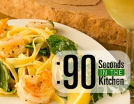 90 Second Shrimp Scampi and Spinach Fettuccine