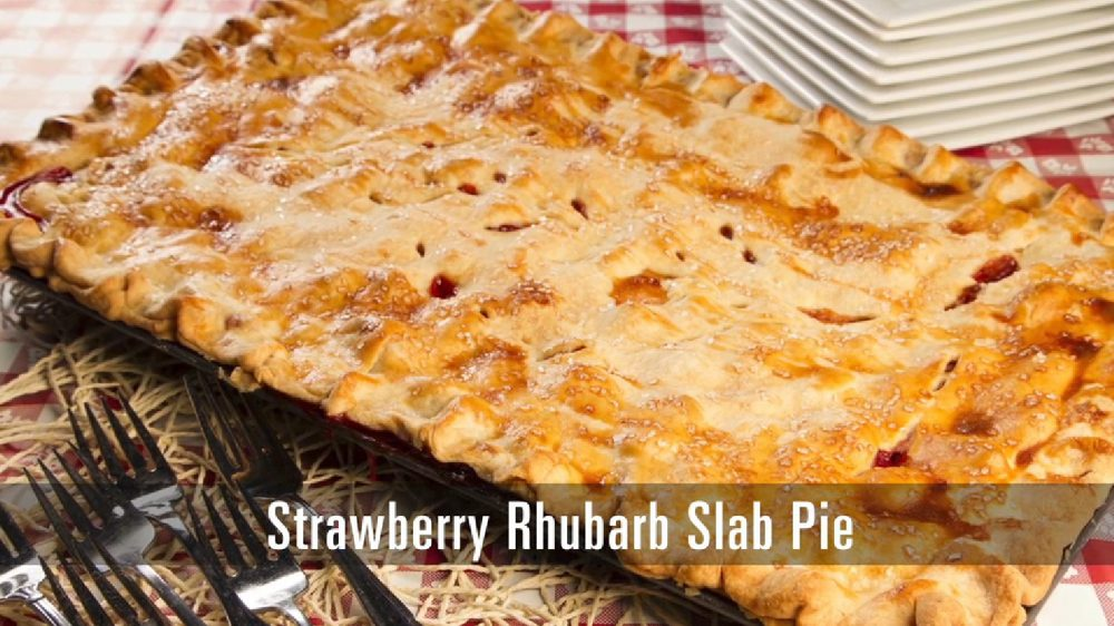 cobbler style pie made with fresh rhubarb and strawberries