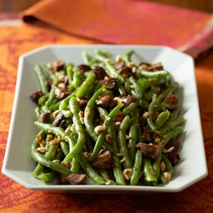 Beans with Caramelized Shallots and Roasted Mushrooms Recipe