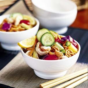Spicy Fried Noodles with Tomatoes and Cabbage