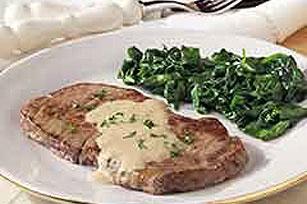 Steak with Brandied Blue Cheese Sauce