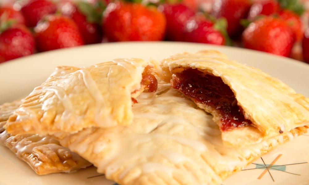Great for a handheld dessert, but you can also try them for breakfast, hot or cold. Feel free to substitute other fruit or preserve flavors, too. To make the pastry more golden brown, you can also eggwash the top before baking.