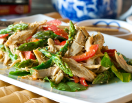 Asian Chicken Salad with Red Peppers and Asparagus