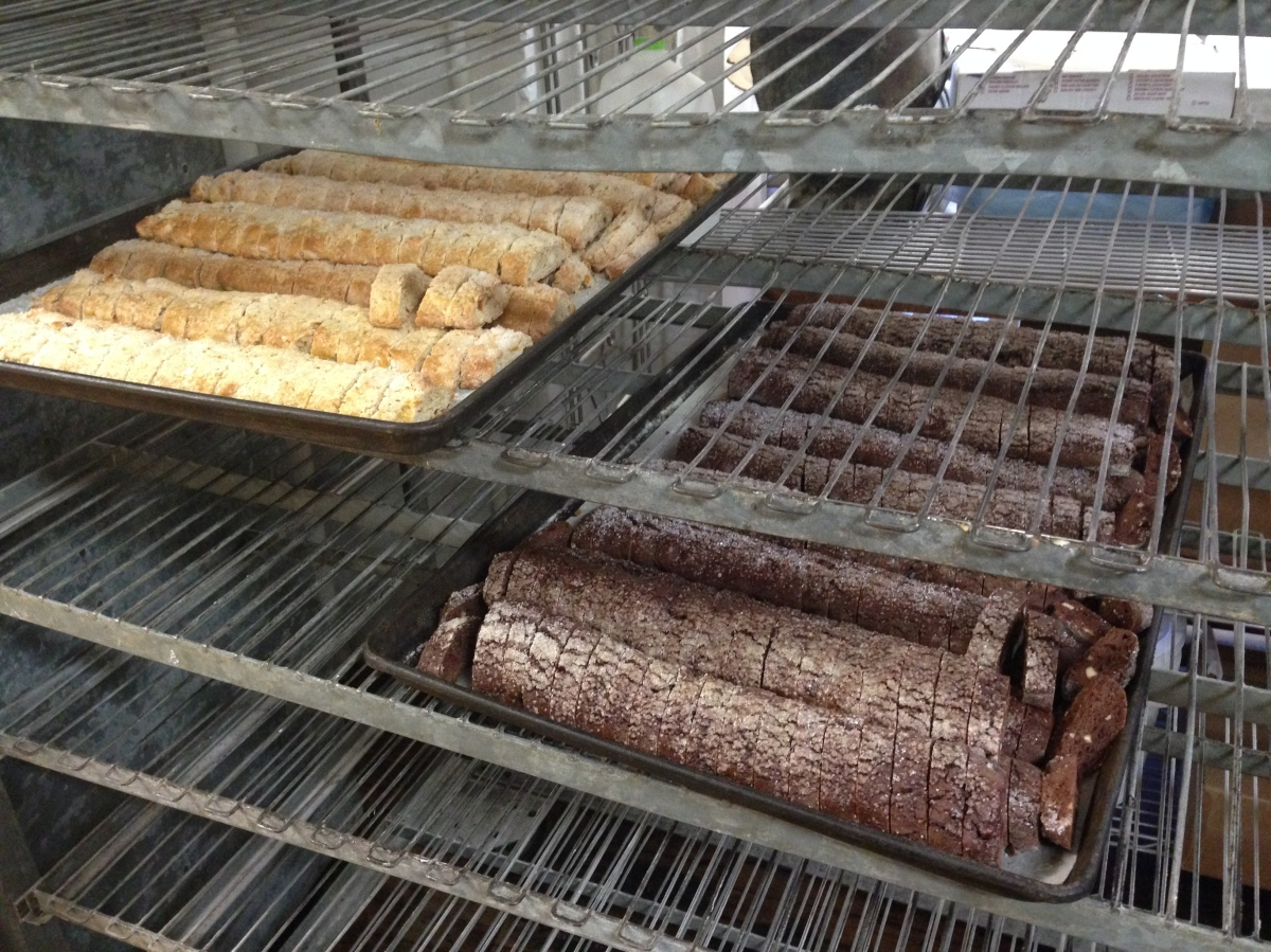 Two flavors of biscotti, drying in the back room