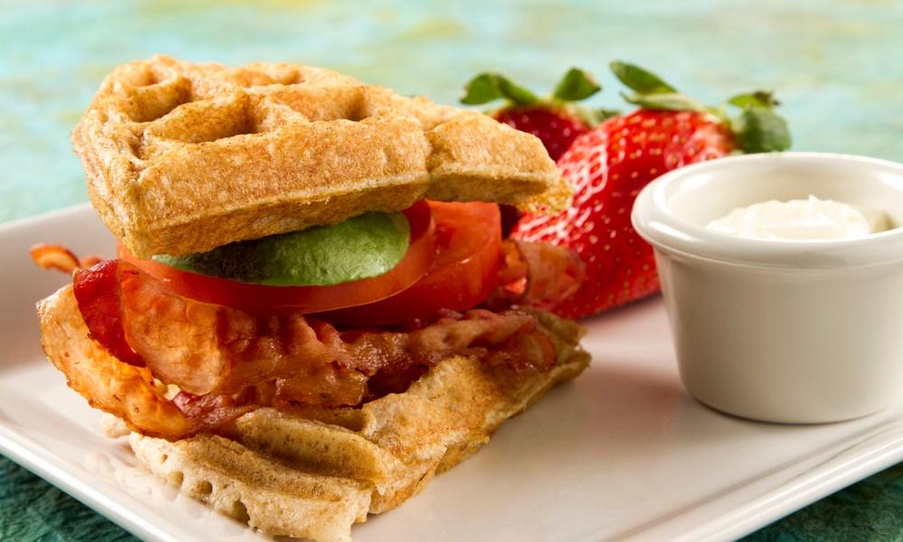 Bacon, Avocado and Tomato Waffle Sandwich