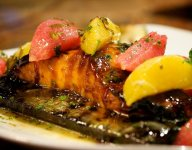 Cedar Planked Salmon with Sake Soy and Molasses Glaze