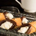 Canolis filled with chocolate chip mascarpone cream